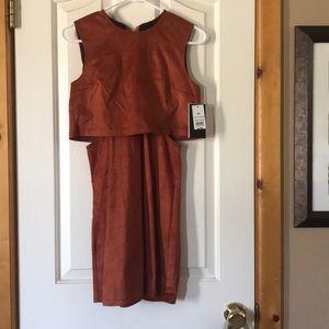 Suede rust orange dress